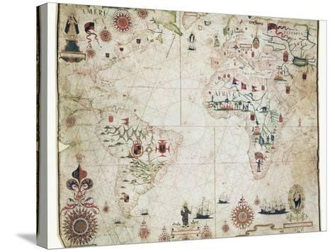 17th Century Nautical Map of the Atlantic-Library of Congress-Stretched Canvas Print