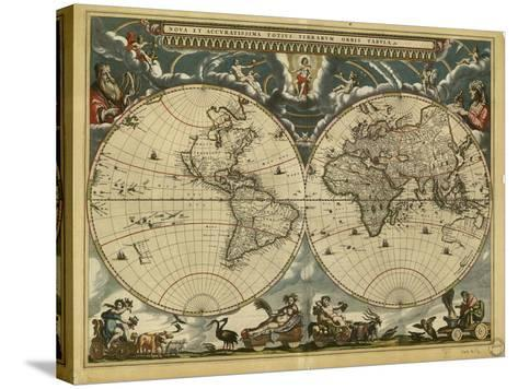 17th Century World Map-Library of Congress-Stretched Canvas Print