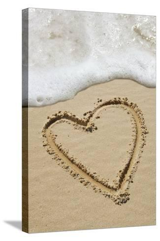 Heart-shape Drawn In Sand-Tony Craddock-Stretched Canvas Print