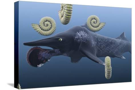 Helicoprion, with Ammonites-Christian Darkin-Stretched Canvas Print