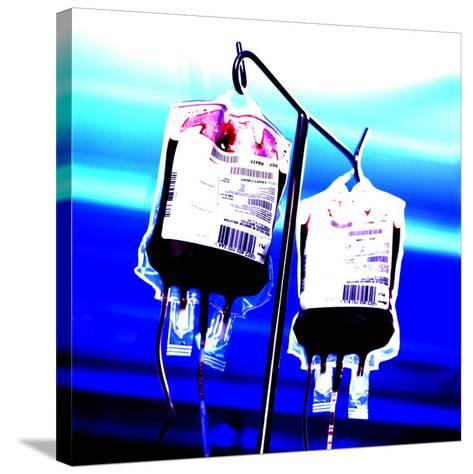 Blood Bags on Drip Stand-Kevin Curtis-Stretched Canvas Print