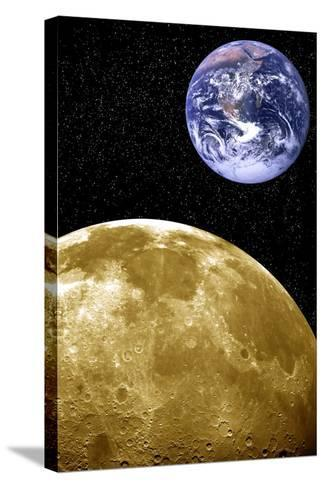 Moon And Earth, Artwork-Victor De Schwanberg-Stretched Canvas Print
