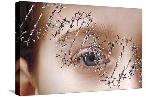 DNA Molecule Over Young Child's Face-Victor De Schwanberg-Stretched Canvas Print