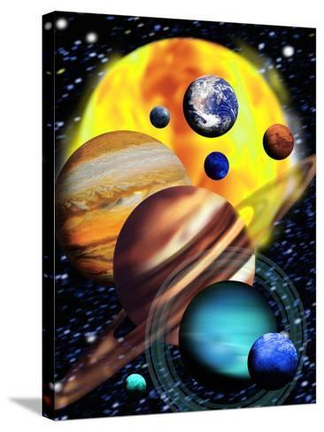 Planets & Their Relative Sizes-Victor Habbick-Stretched Canvas Print