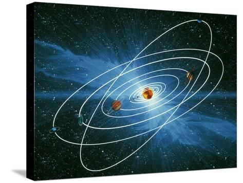 Artwork of the Orbits of the Planets-Victor Habbick-Stretched Canvas Print