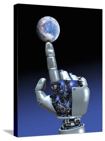 Earth Spinning on Robotic Finger, Artwork-Victor Habbick-Stretched Canvas Print