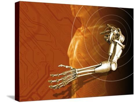 Prosthetic Robotic Arm, Computer Artwork-Victor Habbick-Stretched Canvas Print