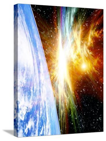 Solar Flare Threatening Earth-Victor Habbick-Stretched Canvas Print