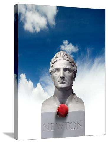 Issac Newton And the Apple, Artwork-Victor Habbick-Stretched Canvas Print