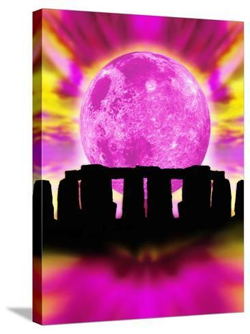 Computer Illustration of Stonehenge And the Moon-Victor Habbick-Stretched Canvas Print