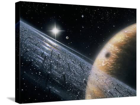Artist's Impression of Jupiter & Its Ring-David Hardy-Stretched Canvas Print