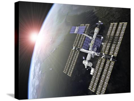 International Space Station-Roger Harris-Stretched Canvas Print