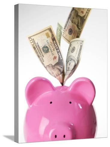 Piggy Bank And US Dollars-Tek Image-Stretched Canvas Print
