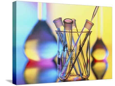 Test Tubes In Beaker with Pipette And Flasks-Tek Image-Stretched Canvas Print