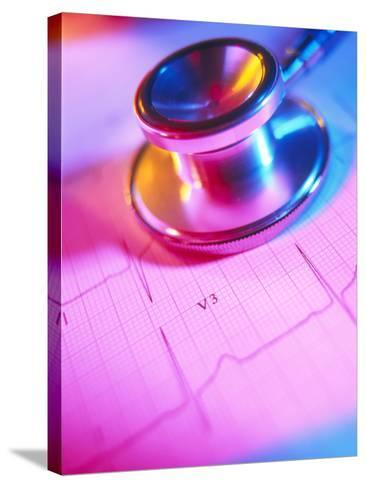 Stethoscope And a Healthy Electrocardiogram Trace-Tek Image-Stretched Canvas Print