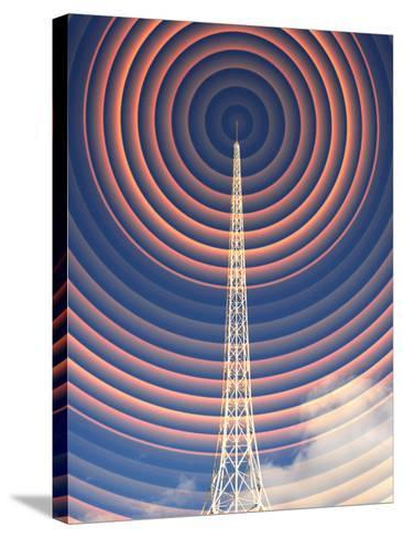 Radio Mast with Radio Waves-Mehau Kulyk-Stretched Canvas Print