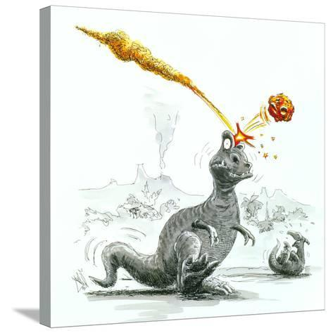 Caricature of the Death of Dinosaurs by Meteorite-Lutz Lange-Stretched Canvas Print