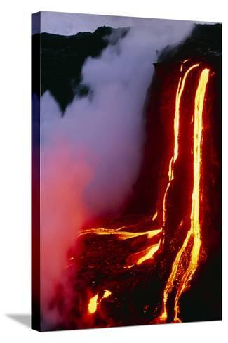 Lava Flowing Down Cliff Into the Ocean-Brad Lewis-Stretched Canvas Print