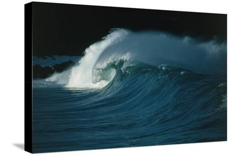 Wind-blown Wave Breaking In Hawaii-Brad Lewis-Stretched Canvas Print