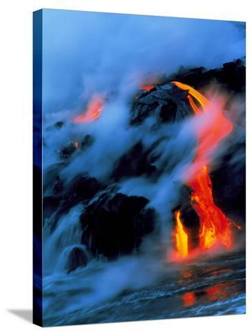 Molten Pahoehoe Lava Flowing Into the Ocean-Brad Lewis-Stretched Canvas Print