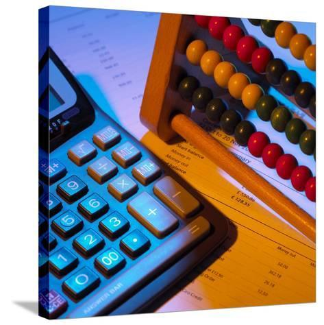 Abacus And Calculator-Mark Sykes-Stretched Canvas Print