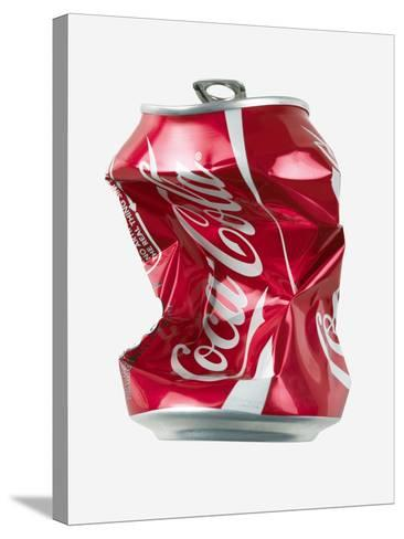 Crushed Coca Cola Can Cut-out-Mark Sykes-Stretched Canvas Print