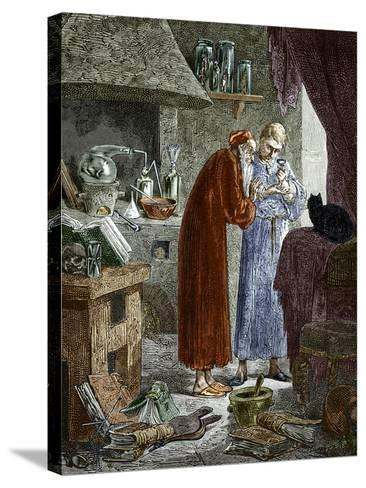 Jan Baptiste Van Helmont And An Alchemist-Sheila Terry-Stretched Canvas Print