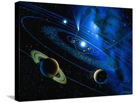 Artwork of Solar System And Comet-Detlev Van Ravenswaay-Stretched Canvas Print