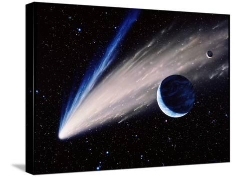 Artwork of a Comet Passing the Earth-Joe Tucciarone-Stretched Canvas Print