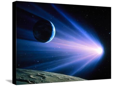 Artwork of a Comet Passing Earth-Joe Tucciarone-Stretched Canvas Print