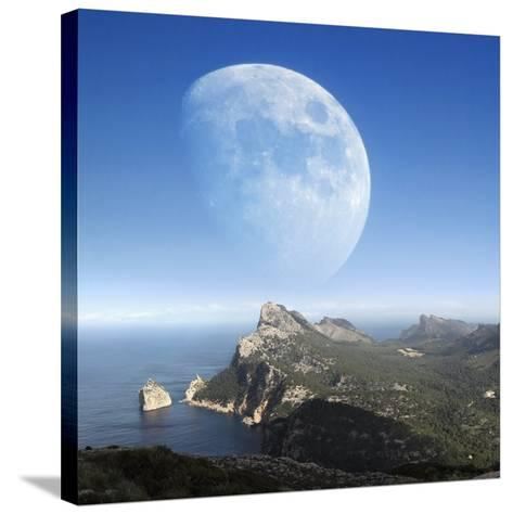 Moonrise Over Mallorca-Detlev Van Ravenswaay-Stretched Canvas Print