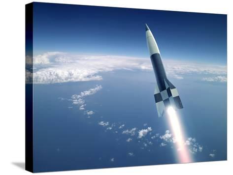 First V-2 Rocket Launch, Artwork-Detlev Van Ravenswaay-Stretched Canvas Print