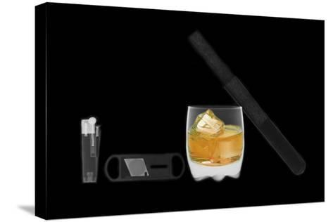 X-ray of Whiskey And Cigar--Stretched Canvas Print