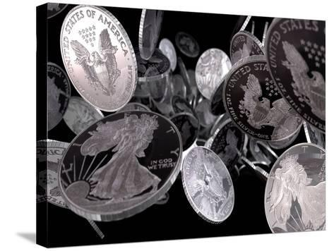 Silver Coins, Computer Artwork--Stretched Canvas Print
