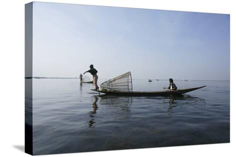 Inle Lak Traditional Fishing--Stretched Canvas Print