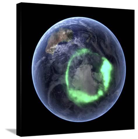Aurora Over Antarctica, Satellite Image--Stretched Canvas Print
