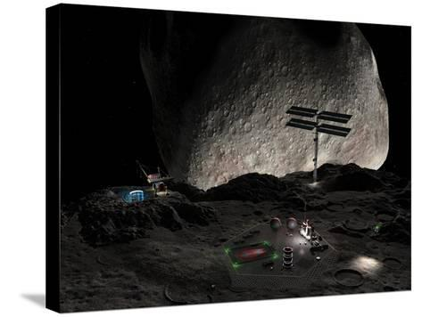 Asteroid Mining Settlement, Artwork-Walter Myers-Stretched Canvas Print
