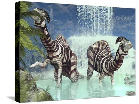 Parasaurolophus Dinosaurs-Walter Myers-Stretched Canvas Print