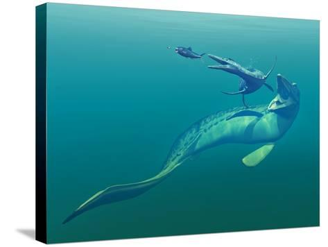Cretaceous Marine Predators, Artwork-Walter Myers-Stretched Canvas Print