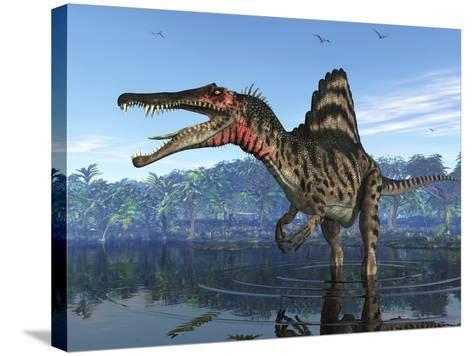 Spinosaurus Dinosaur, Artwork-Walter Myers-Stretched Canvas Print