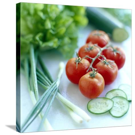 Salad Vegetables-David Munns-Stretched Canvas Print