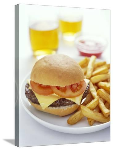 Cheeseburger And Chips-David Munns-Stretched Canvas Print