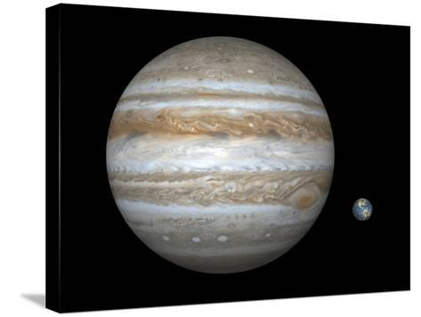 Jupiter And Earth Compared, Artwork-Walter Myers-Stretched Canvas Print