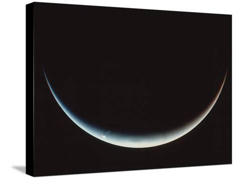 Voyager II Image of a Crescent Neptune--Stretched Canvas Print
