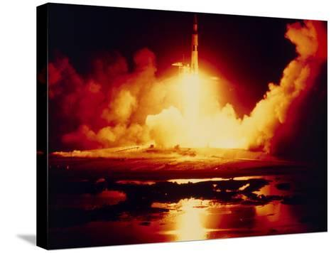 Night Launch of Apollo 17--Stretched Canvas Print