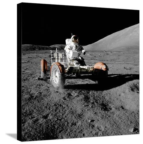 Eugene Cernan on Lunar Rover, Apollo 17--Stretched Canvas Print