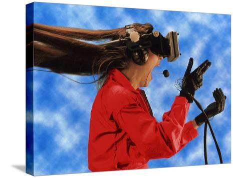 Researcher Wearing Virtual Reality Headset--Stretched Canvas Print