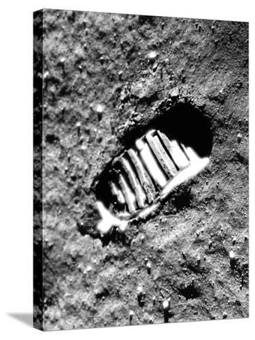 Apollo 11 Astronaut Footprint on Moon--Stretched Canvas Print