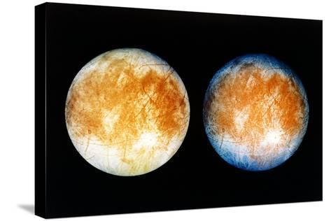 Two Views of Europa From the Galileo Spacecraft--Stretched Canvas Print