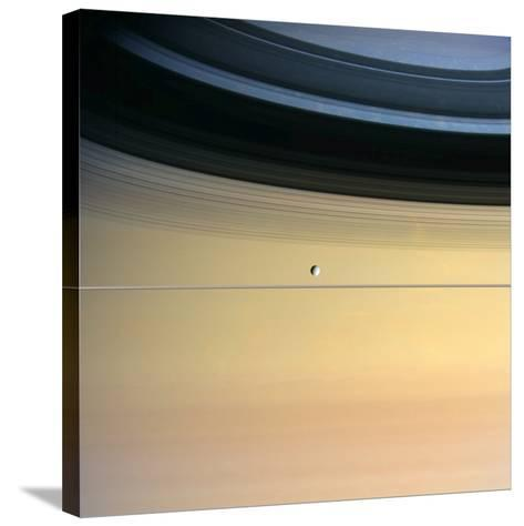 Dione And Ring Shadows on Saturn, Cassini--Stretched Canvas Print